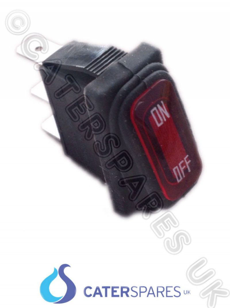 16A RED BIPOLAR ROCKER SWITCH FLASH SYMBOL POWER ON OFF DOUBLE POLE ...
